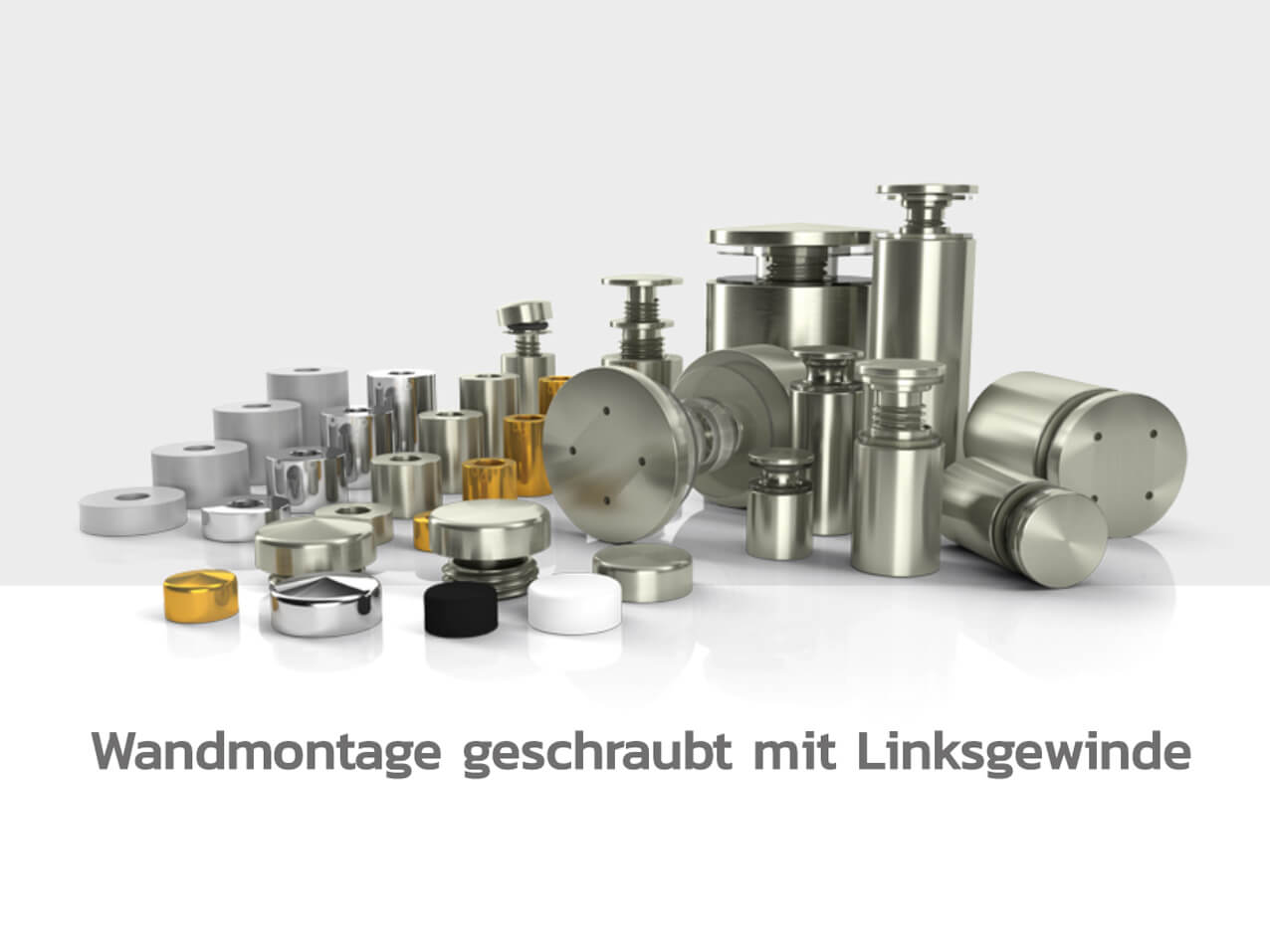 Schilderbefestigung-Schildhalter-Abstandshalter-Edelstahl-Wandmontage-Linksgewinde5ea32dc36179b